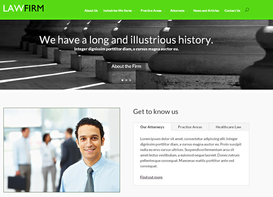 Mystic website design theme for law firms