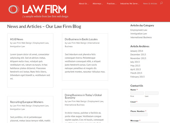 Blog design theme for lawyers
