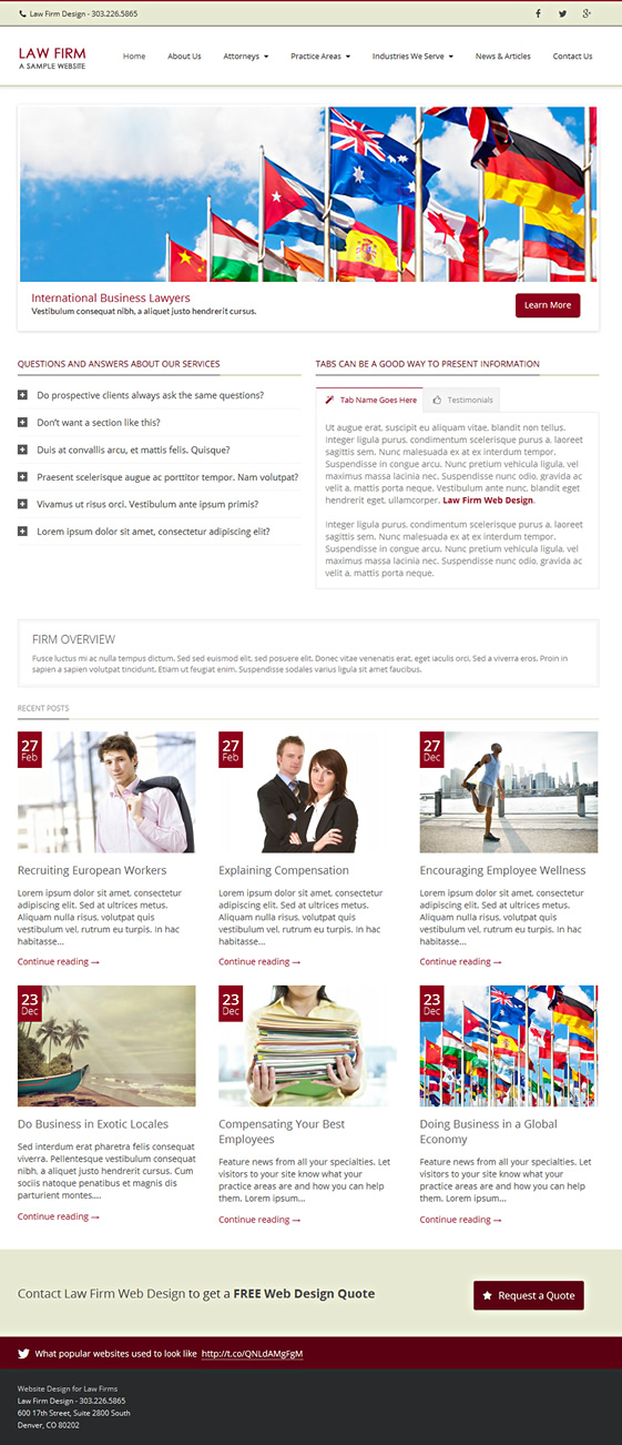 Website design template for law firms